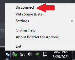 how to not share your VPN connection from Android to PC