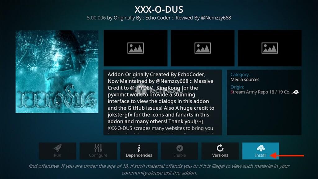 Install Button for XXX-O-DUS