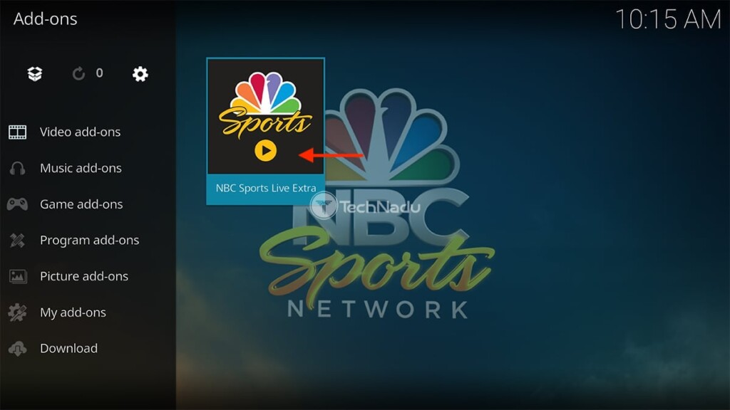 NBC Sports Live Extra Icon in Kodi Interface