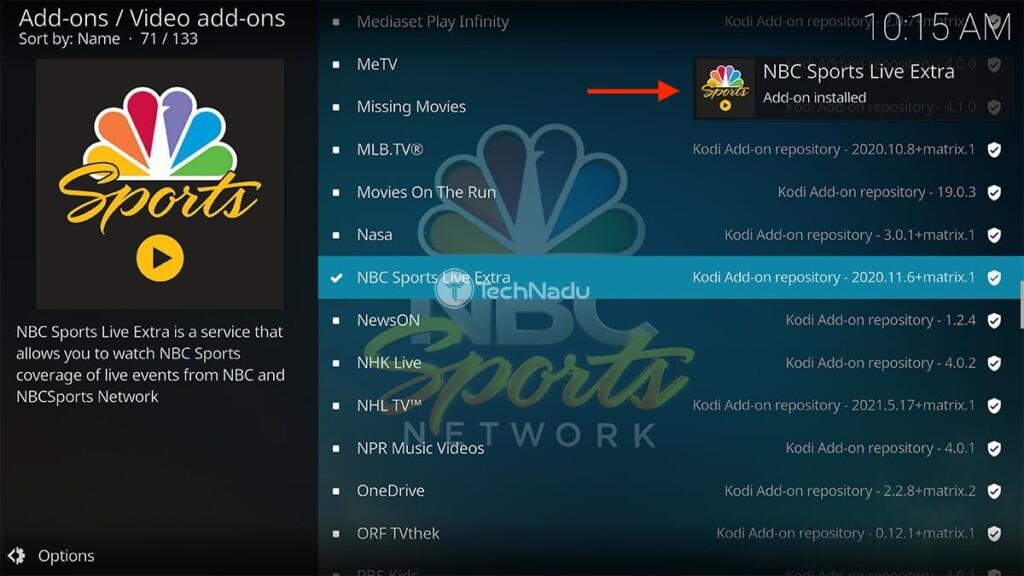 Notification Saying NBC Sports Live Extra Kodi Addon Installed