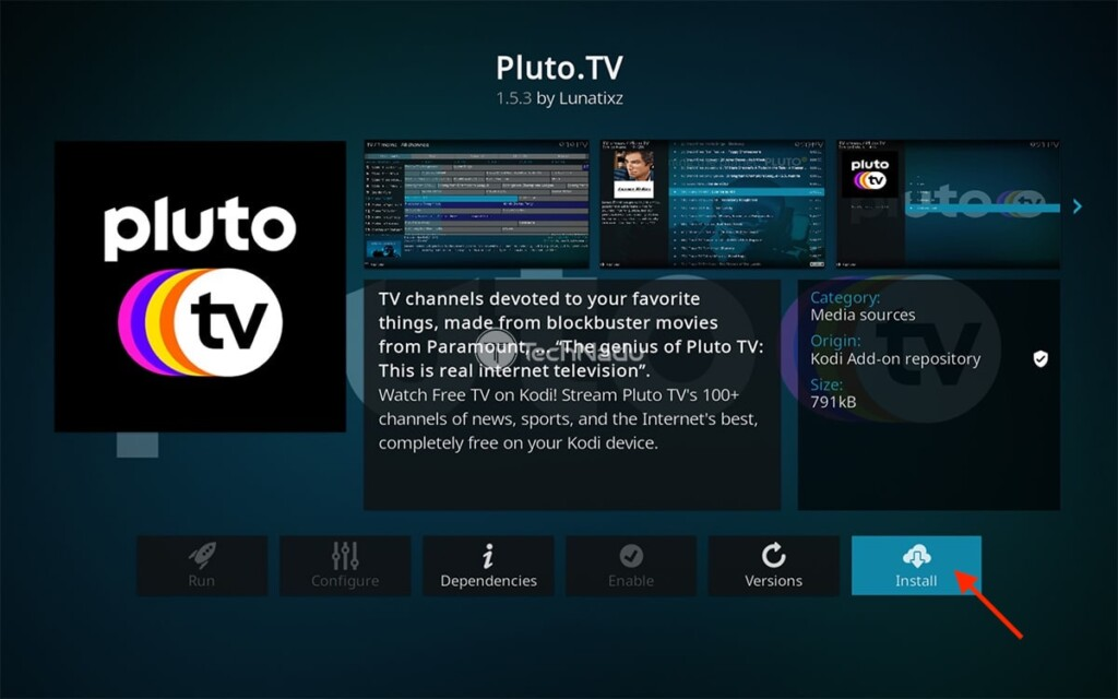 Pluto TV Kodi Addon Installation Overview Screen
