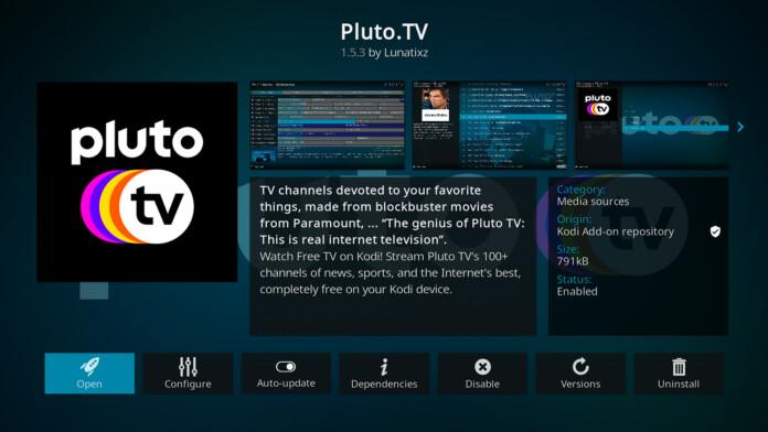 Pluto TV Kodi Addon Overview