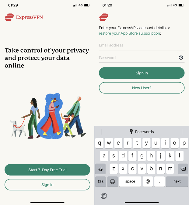 how to sign in on expressvpn ios app