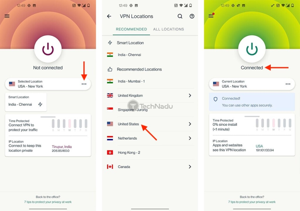 Steps to Connect to US Server via ExpressVPN on Android