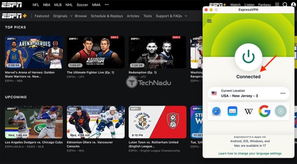 Watching ESPN Plus Outside US Using ExpressVPN