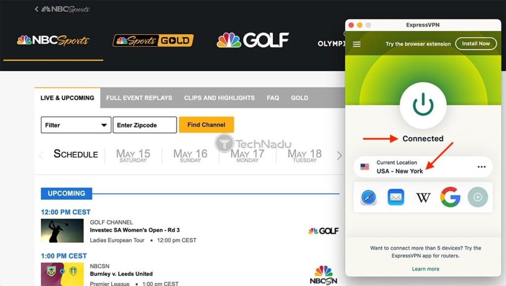 Watching NBC Sports Live Outside the US via ExpressVPN on Mac