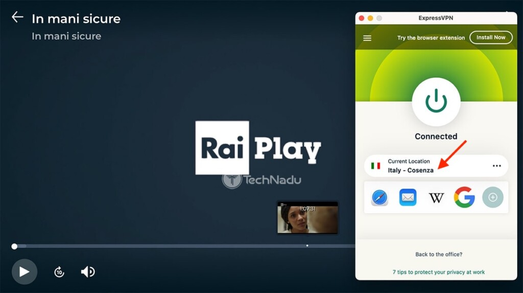 Watching RaiPlay Outside Italy via ExpressVPN on a Computer