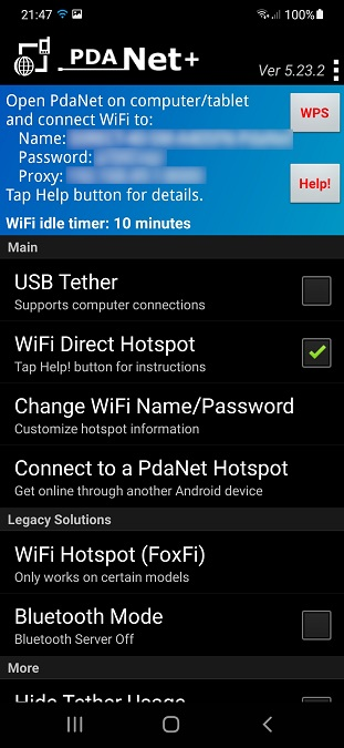 Wi-Fi direct hotspot on PdaNet for Android