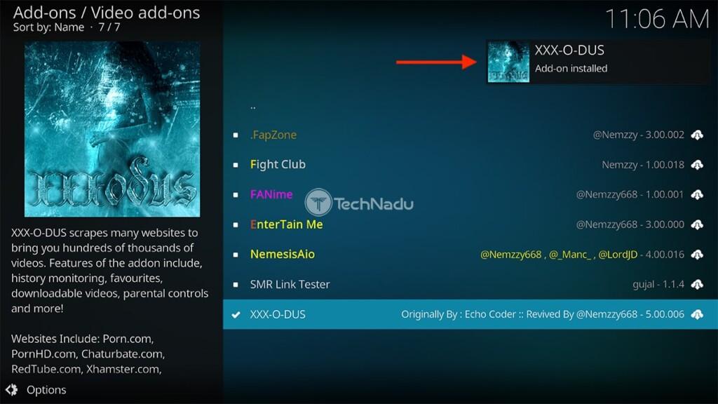 XXX-O-DUS Installed on Kodi