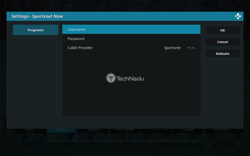 Adding Sportsnet Now Credentials fo Its Kodi Addon