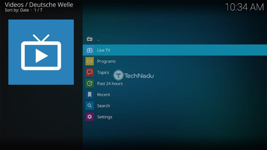 Deutsche Welle for Kodi Home Screen