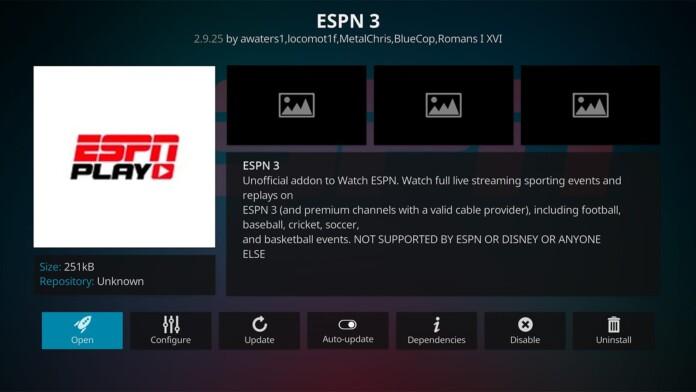 ESPN 3 Kodi Addon