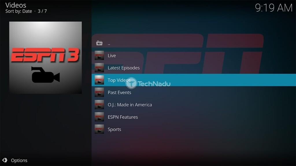 ESPN 3 for Kodi Home Screen