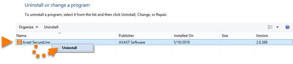 Finding Avast SecureLine VPN Among Installed Software on Windows