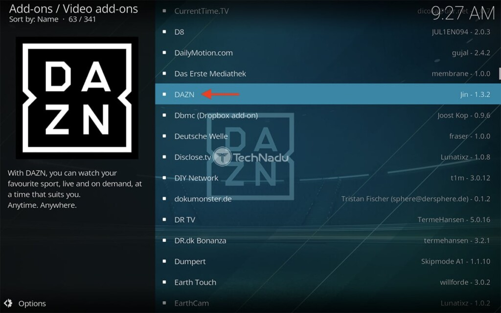 Finding DAZN in Kodi Official Repository
