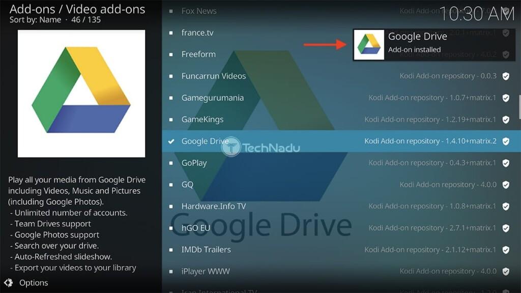 Google Drive for Kodi Installed Notification