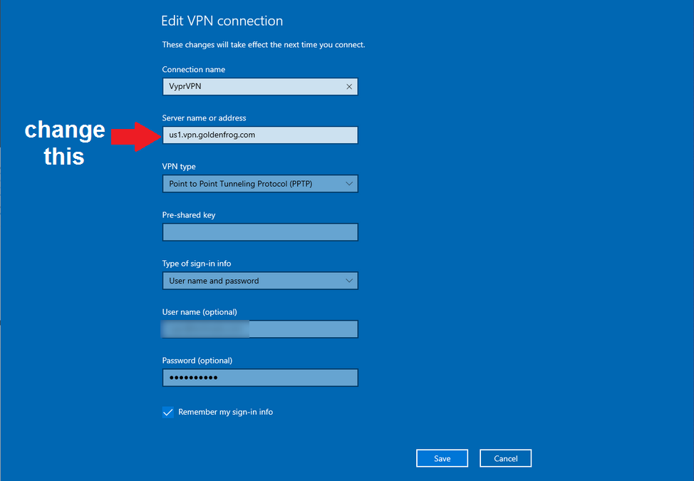 how to change location in PPTP VPN on windows 10