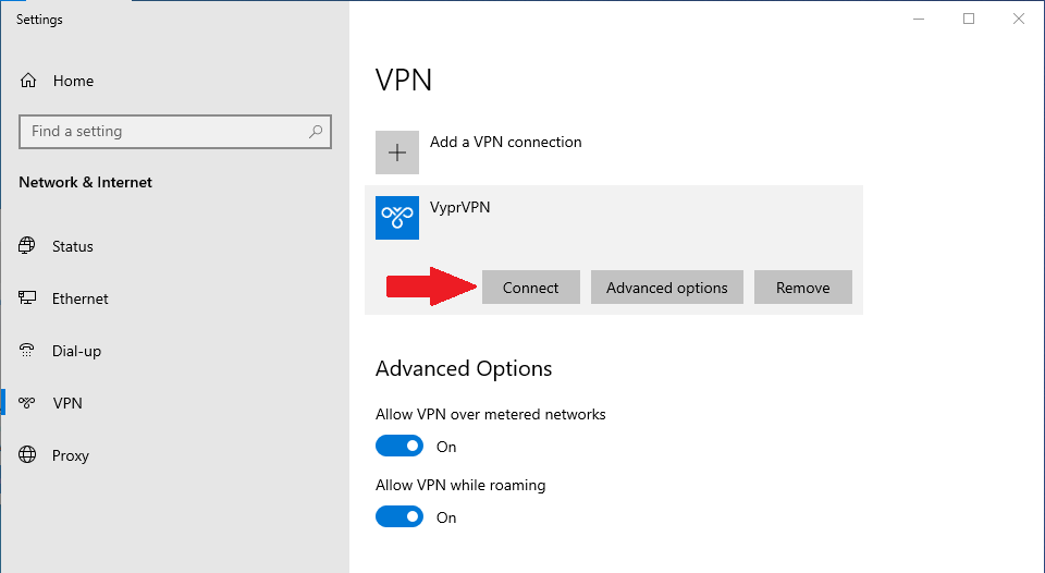 how to connect to PPTP VPN on windows 10