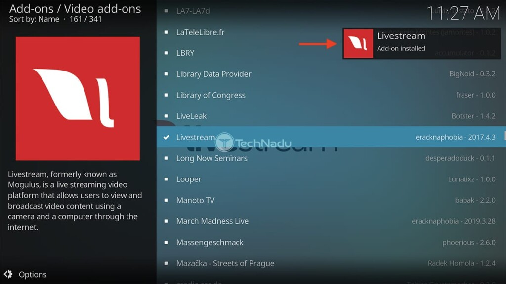 Livestream Installed on Kodi Notification