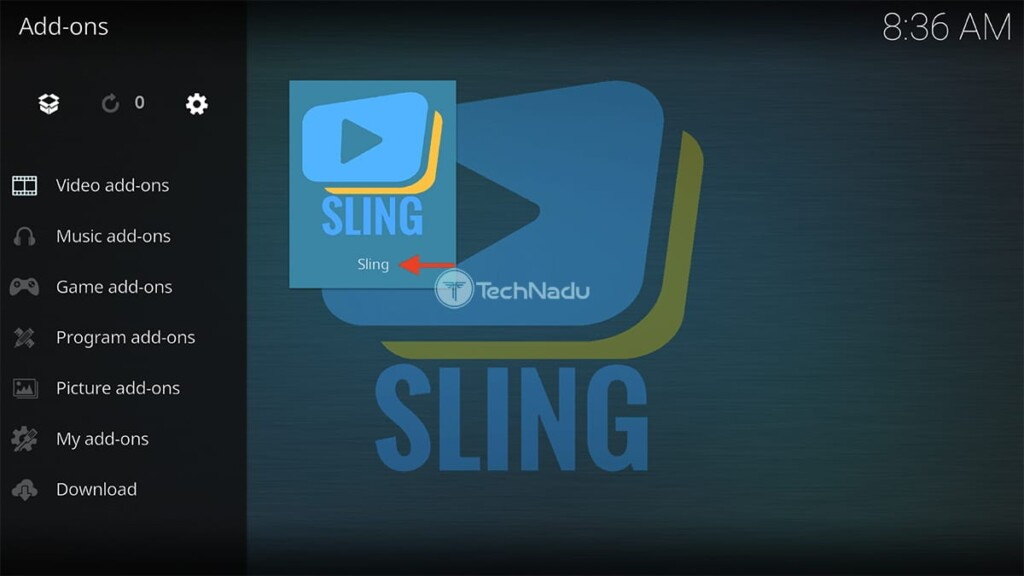 Locating Sling in Kodi After Installing It