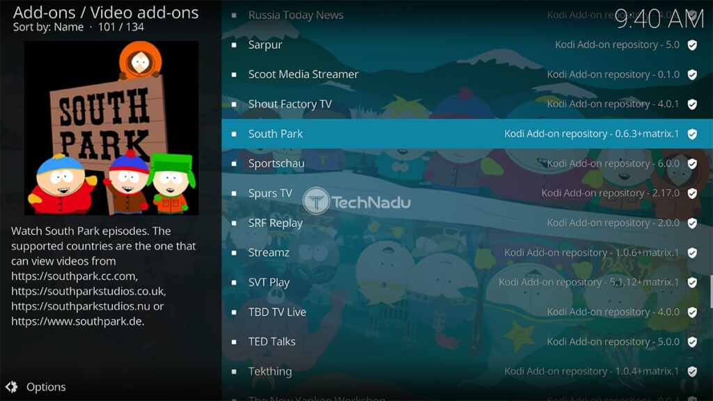 Location of South Park in the official Kodi repository