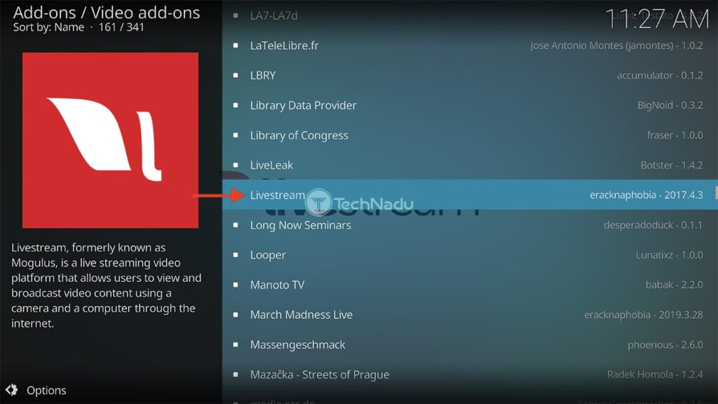 Navigating to Livestream in Kodi Official Repository