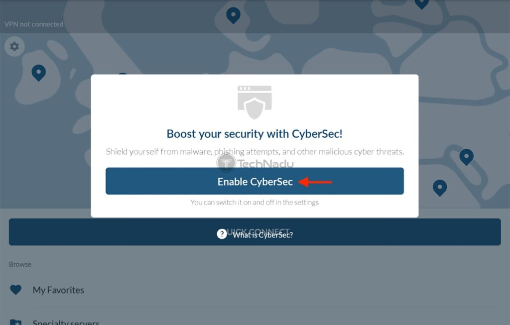 NordVPN Prompt About CyberSec on Fire TV