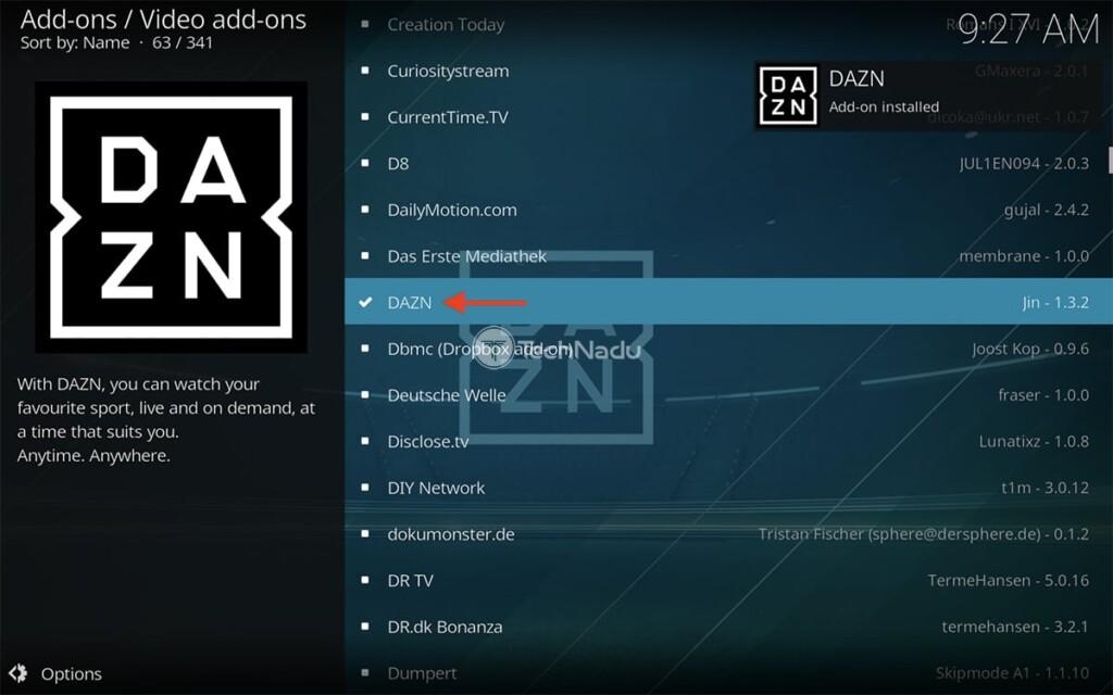 Notification Saying DAZN Installed on Kodi