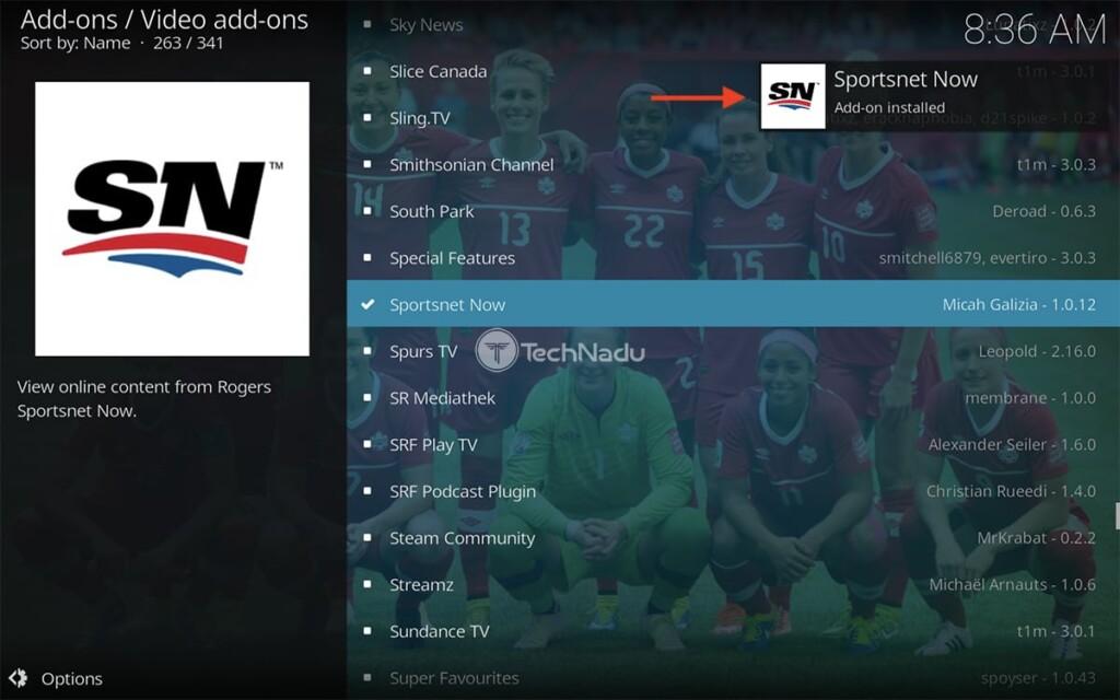 Notification Saying Sportsnet Now Installed on Kodi