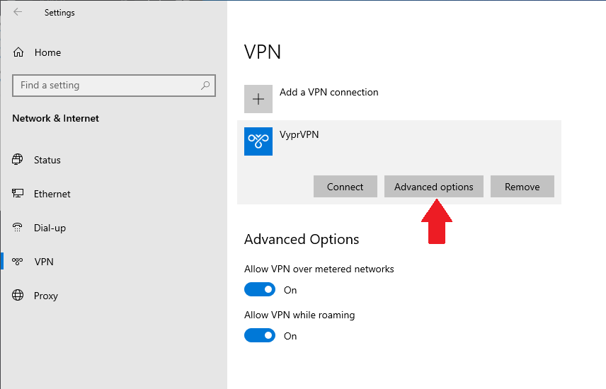 advanced options for PPTP VPN in Windows 10
