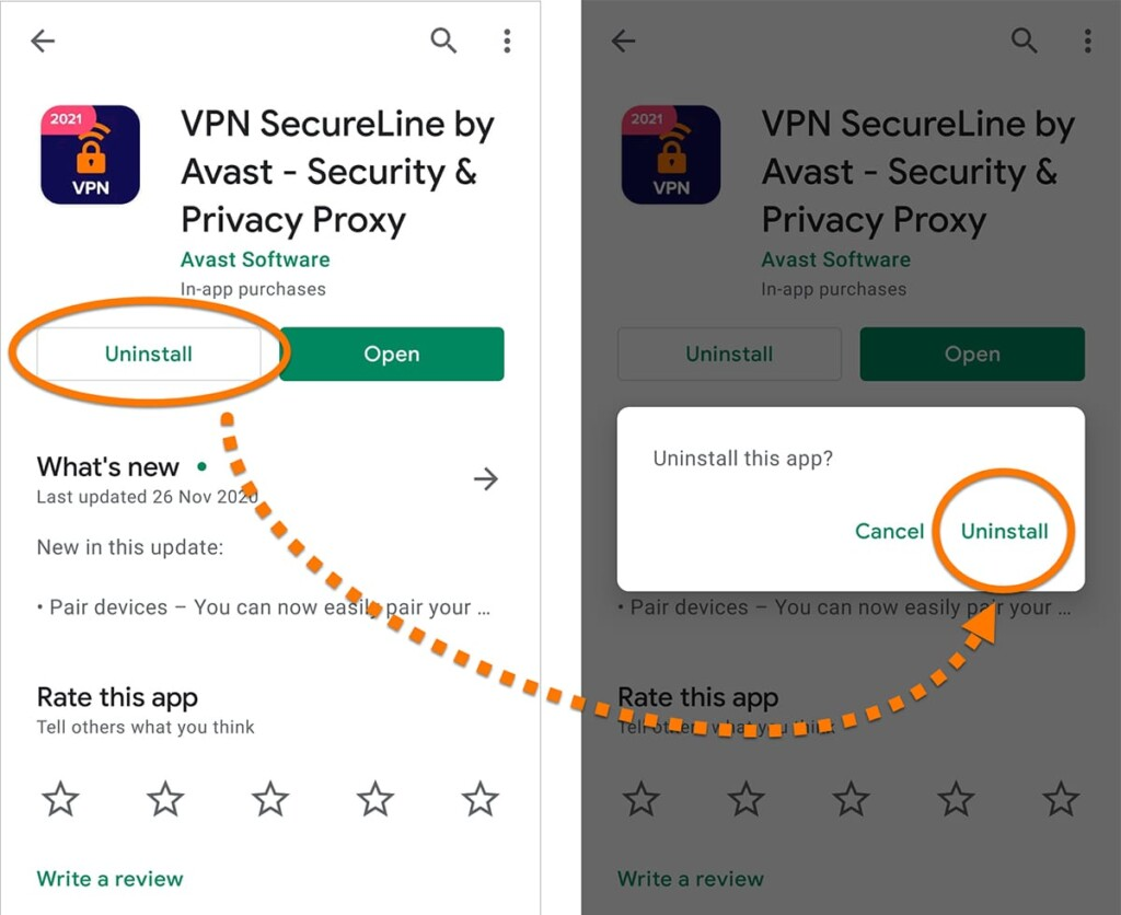 Removing Avast SecureLine VPN on Android