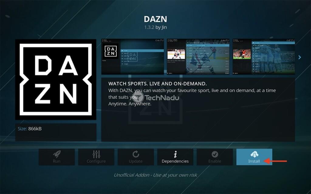 Step to Install DAZN on Kodi
