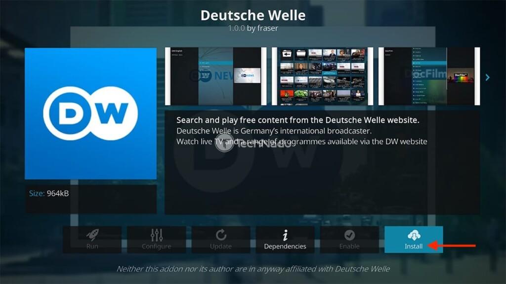 Step to Install Deutsche Welle on Kodi