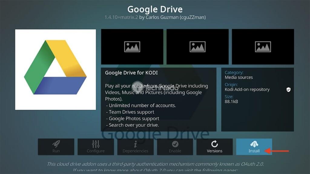Step to Install Google Drive on Kodi