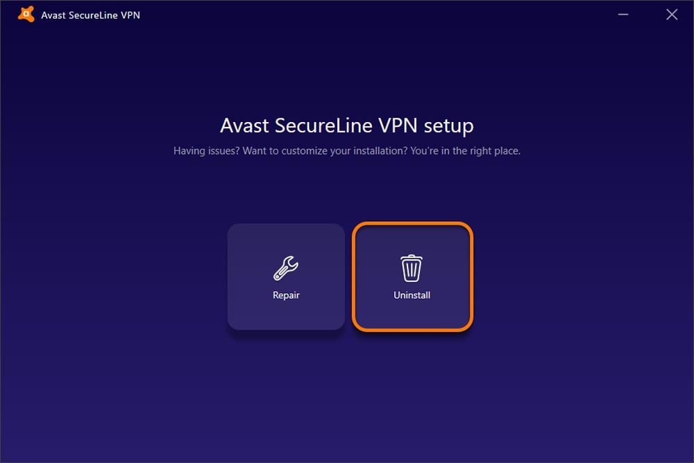 Uninstalling SecureLine VPN on Windows