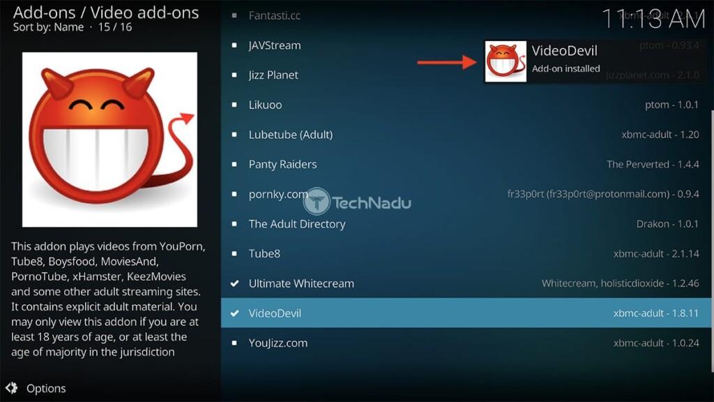 Video Devil for Kodi Installed Notification