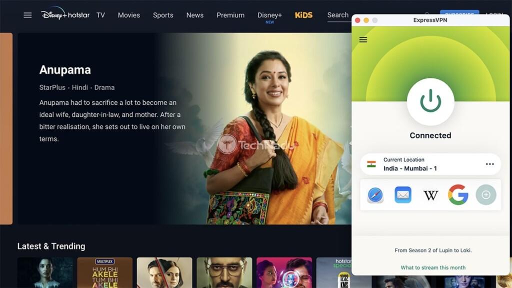 Watching Hotstar Outside India via ExpressVPN