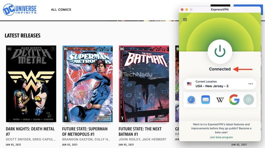 Accessing DC Universe Infinite on Desktop Using ExpressVPN