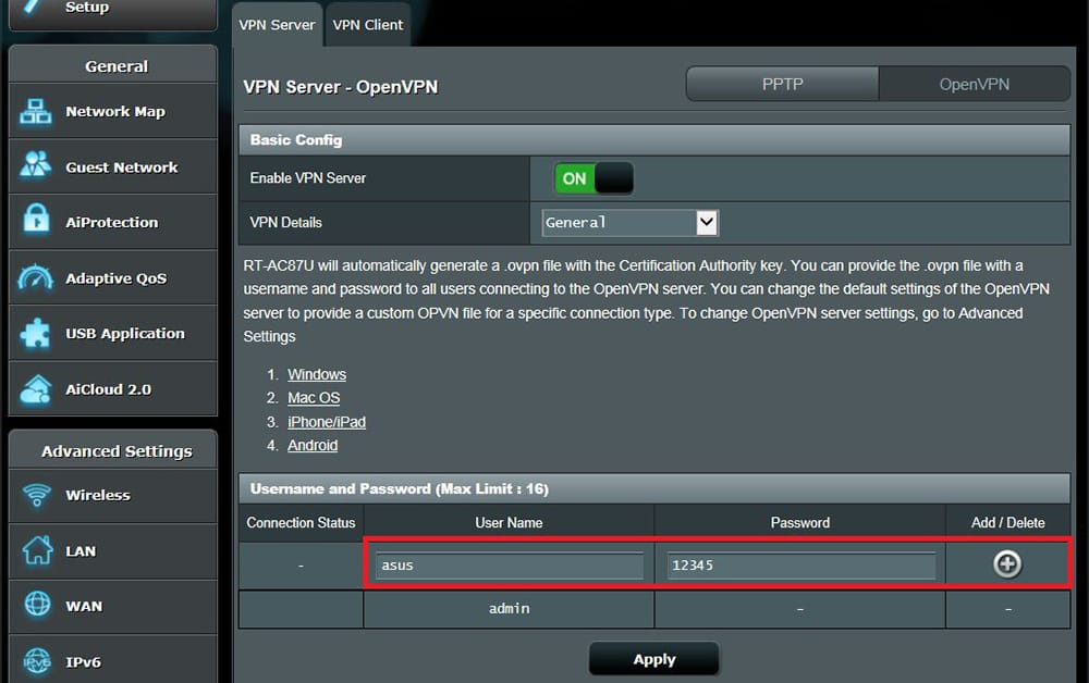 Adding OpenVPN Username and Password on ASUS Router