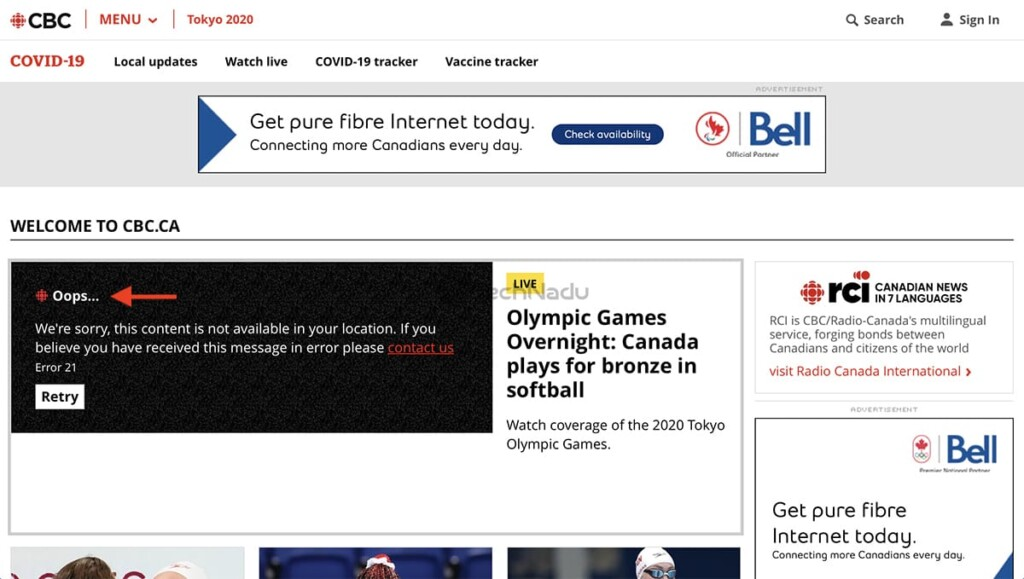 CBC Geo Block Message When Accessing from Outside Canada