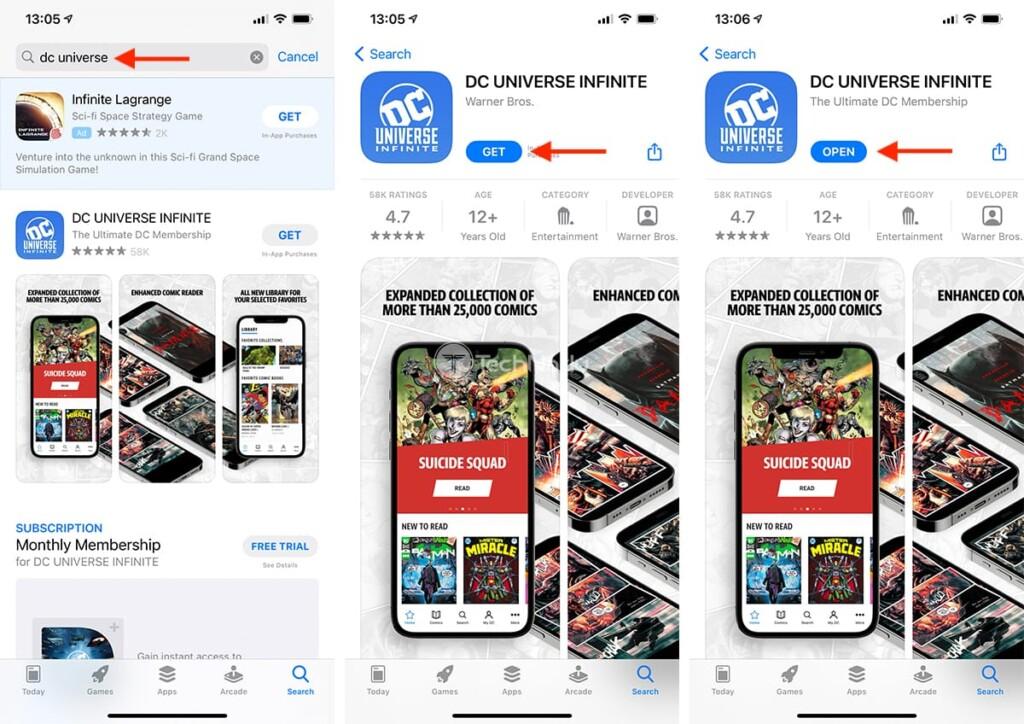 Downloading DC Universe Infinite on iOS
