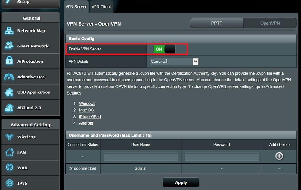 Enabling VPN Server on ASUS Router