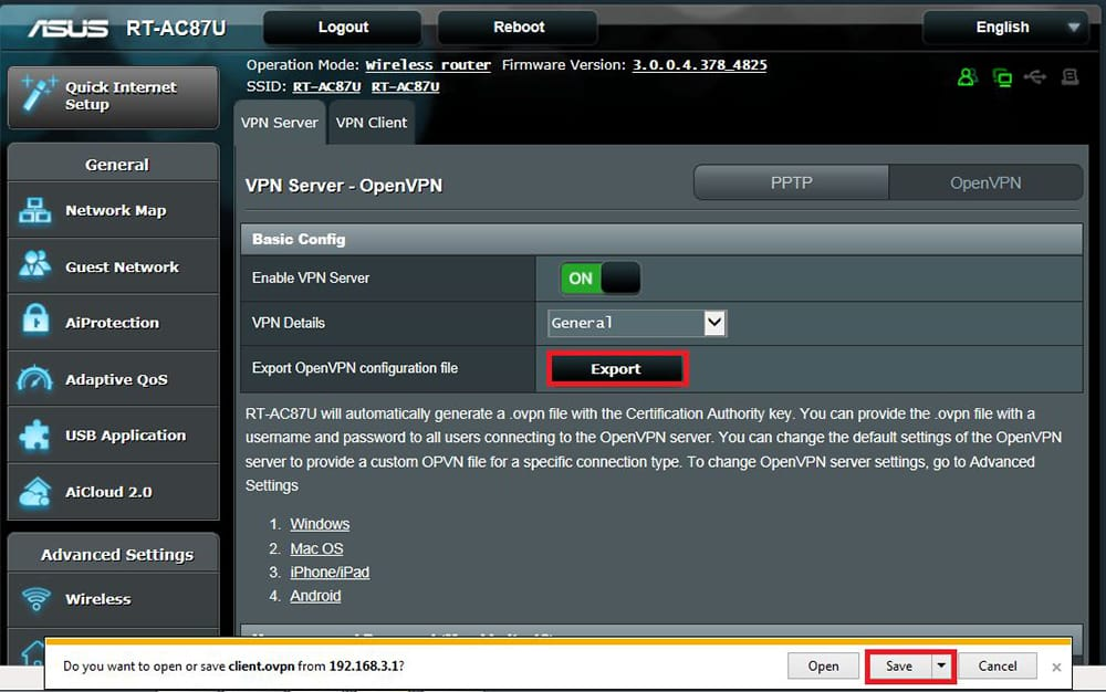 Exporting OVPN File from ASUS Router