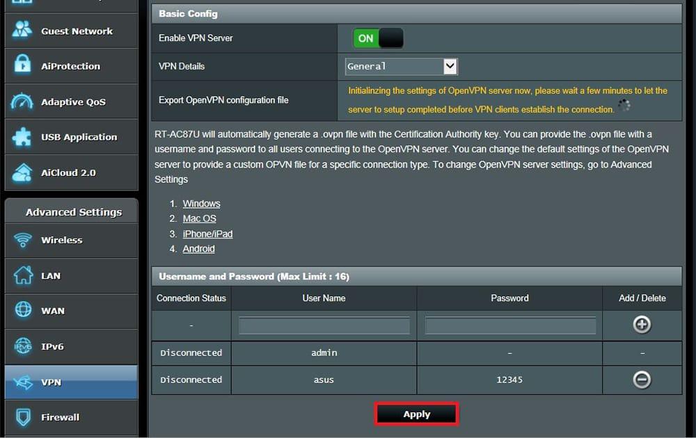 Setting Up VPN on ASUS Router via OpenVPN