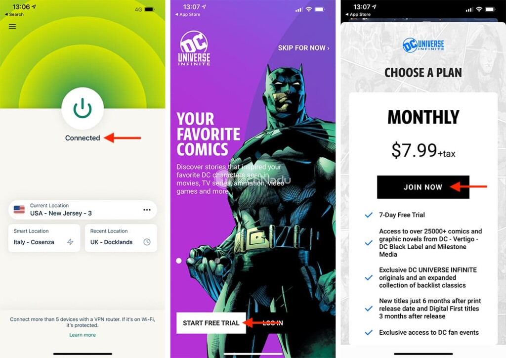 Signing Up for DC Universe Infinite from Outside the US on iOS