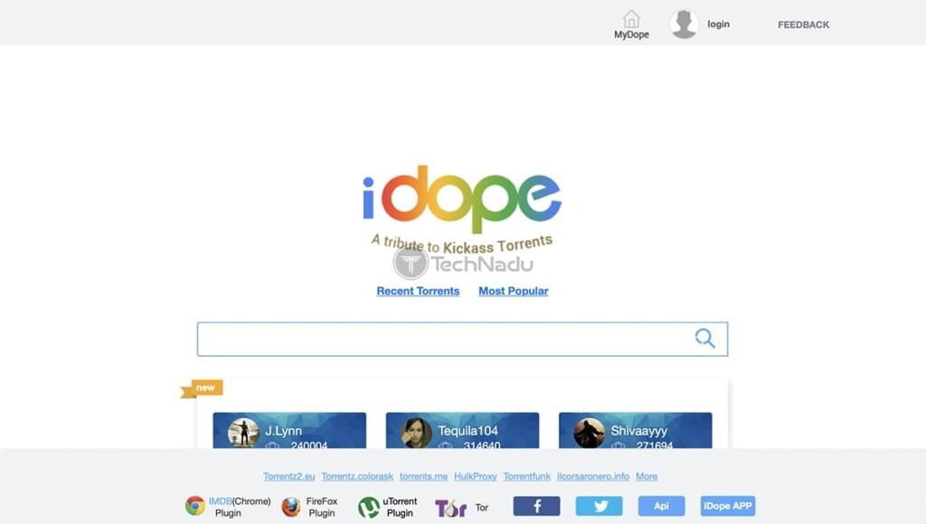 iDope Torrent Site Homepage
