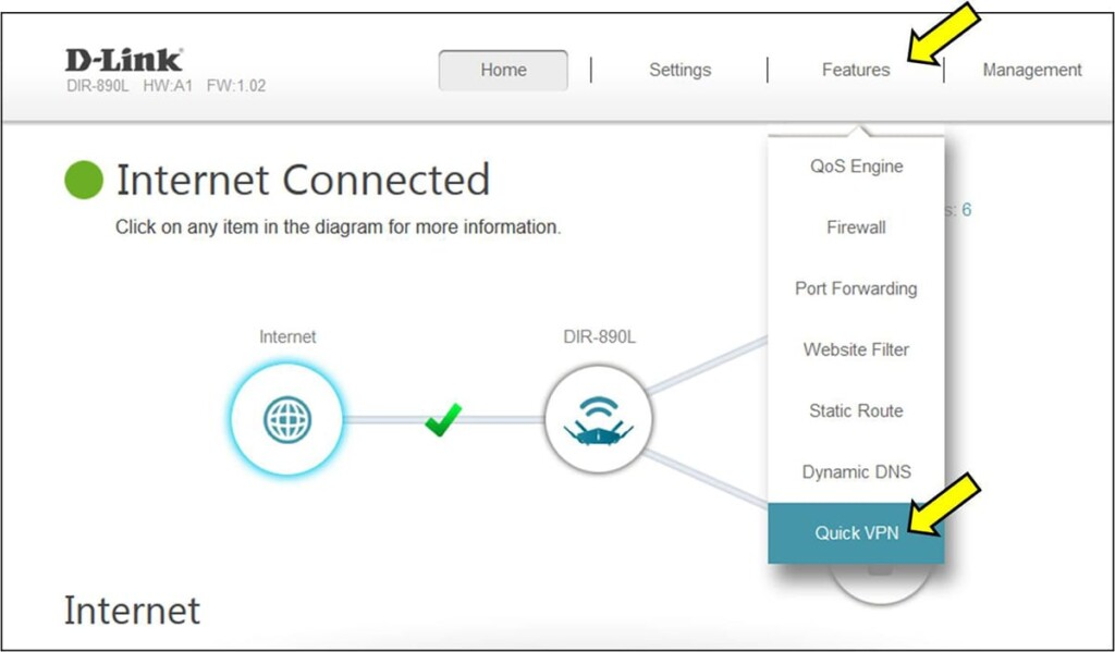 Accessing Quick VPN Feature on D-Link Router