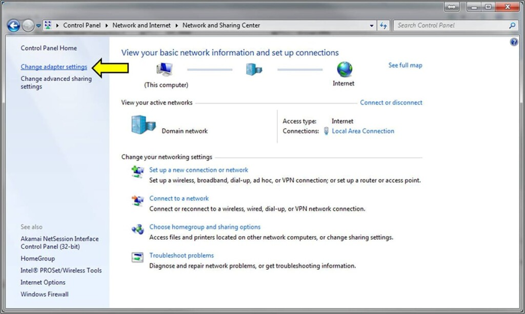 Change Adapter Settings Option on Windows