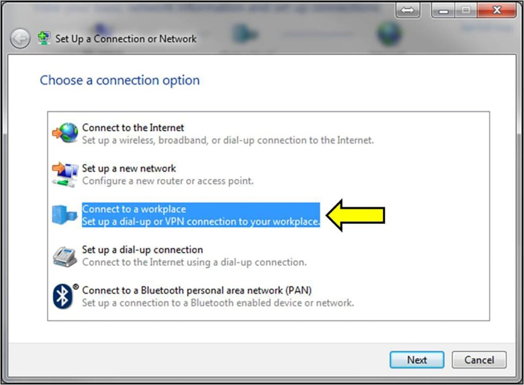 Choosing a Connection Option for VPN on Windows