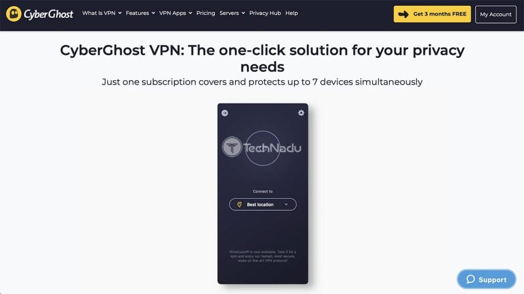 CyberGhost VPN Website Home Screen
